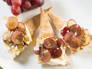Housemade Seed Crackers with Spicy Grapes, Mascarpone and Honey