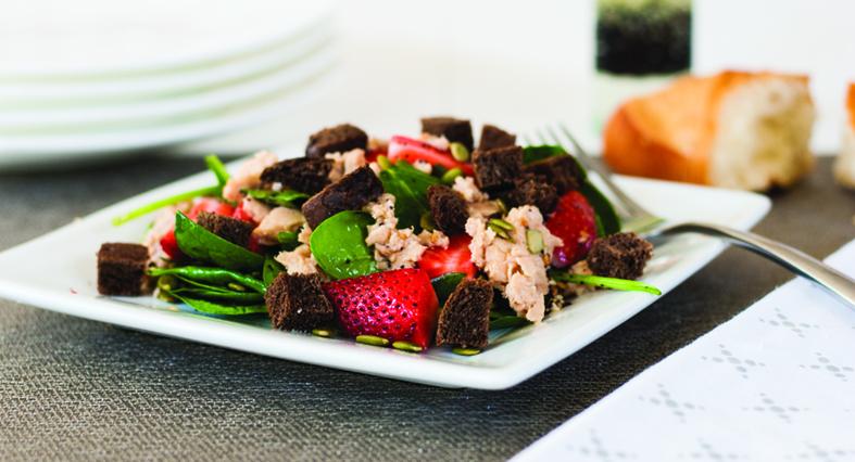 Spinach Strawberry Salmon Salad