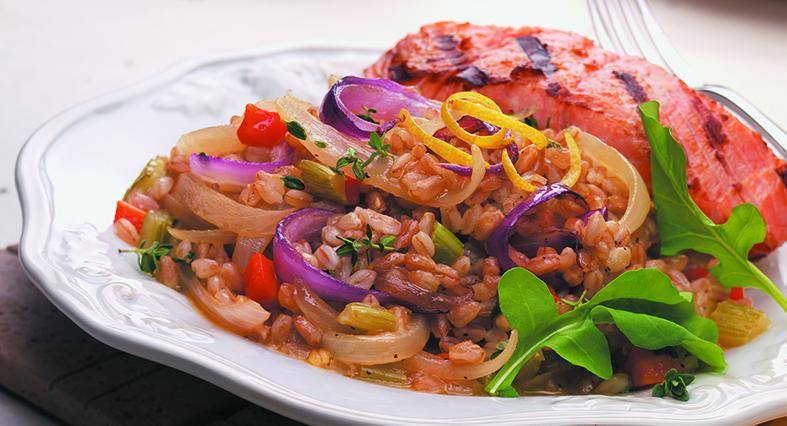 Warm Farro Salad with Sherry Glazed Onions