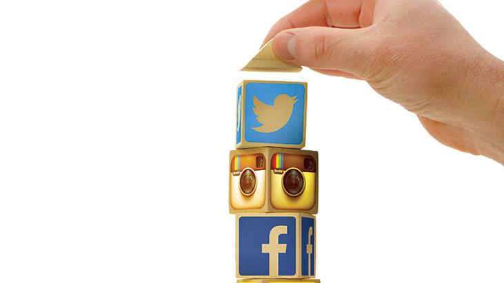hand social media blocks