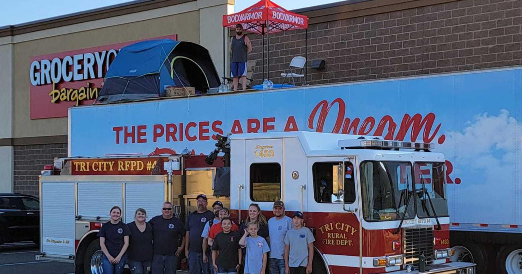 Firefighters visit Grocery Outlet