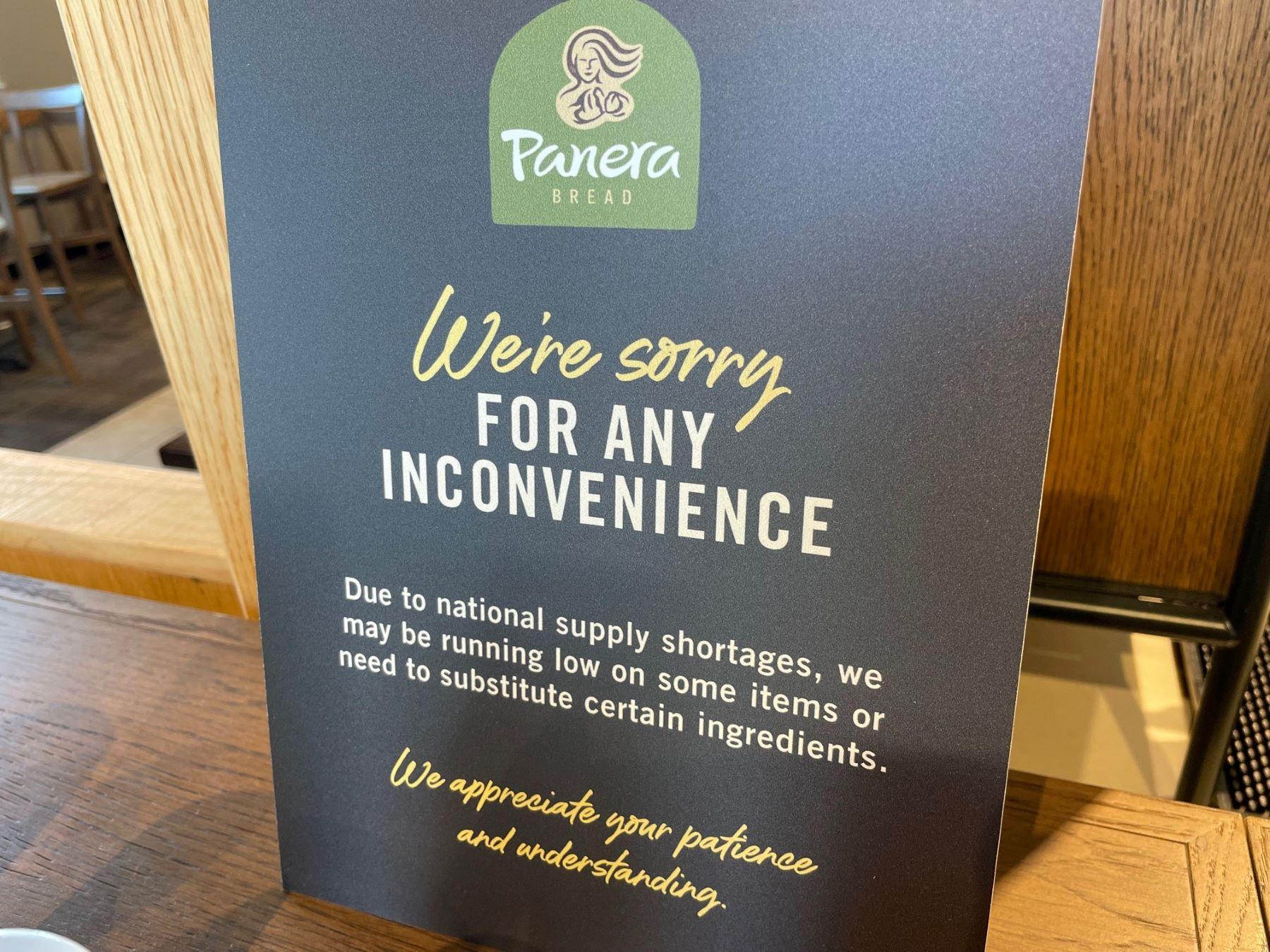 Panera Bread shortage