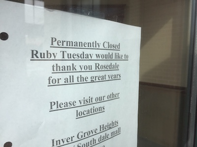Ruby Tuesday closes another 15 locations