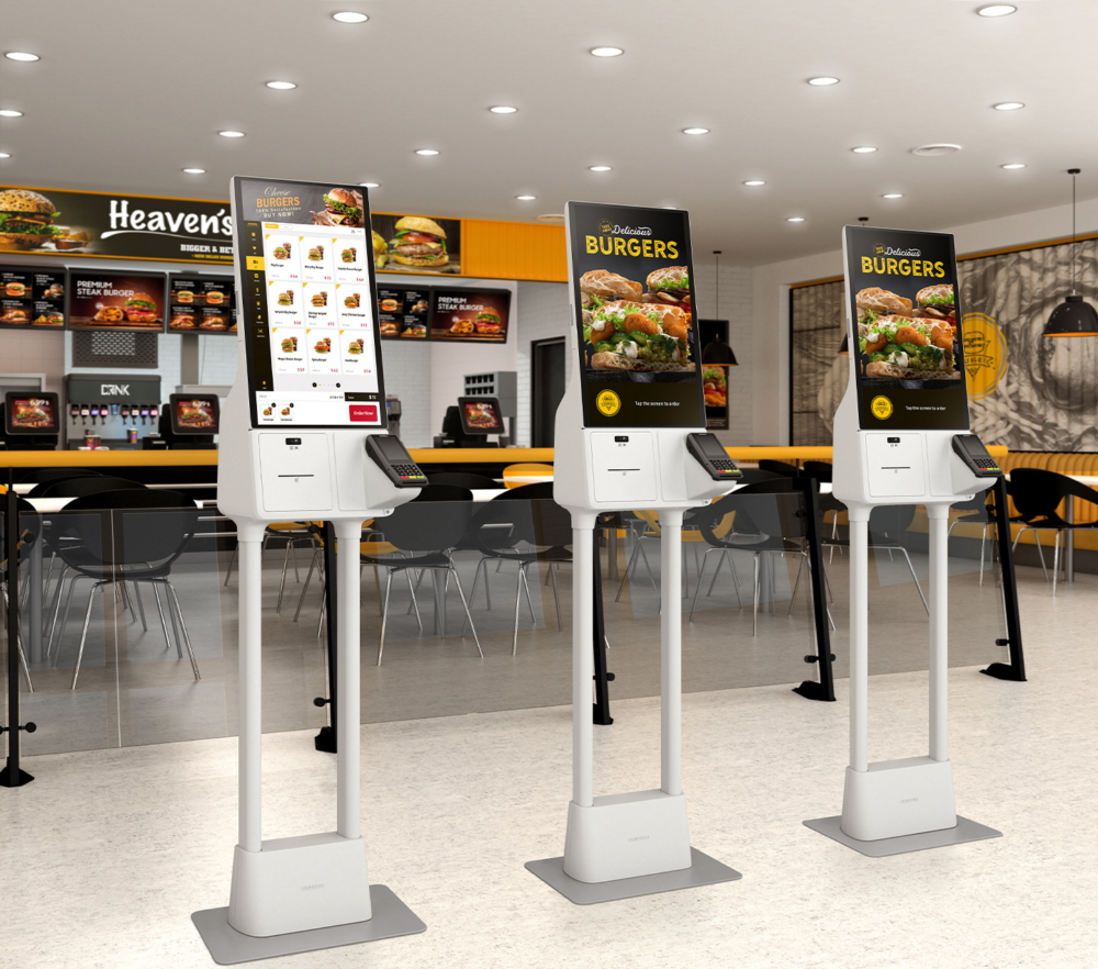 Samsung Kiosks in a burger restaurant
