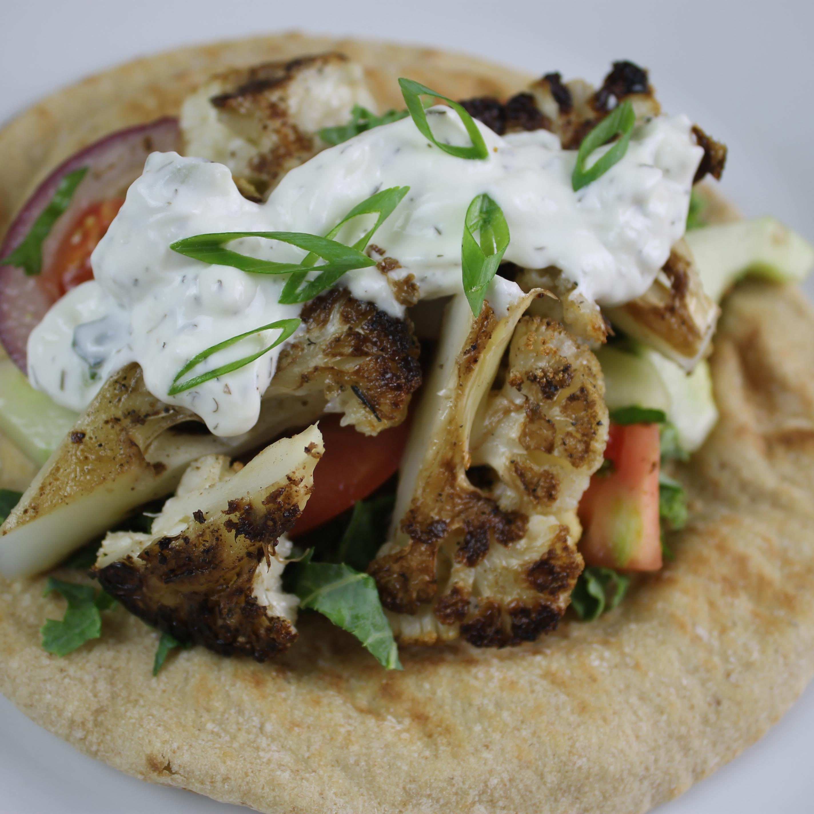 seared cauliflower stem gyro