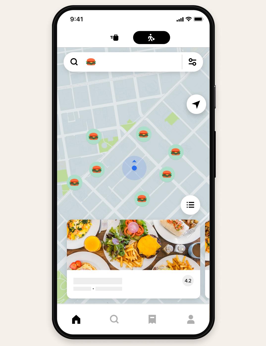 Uber Eats map interface