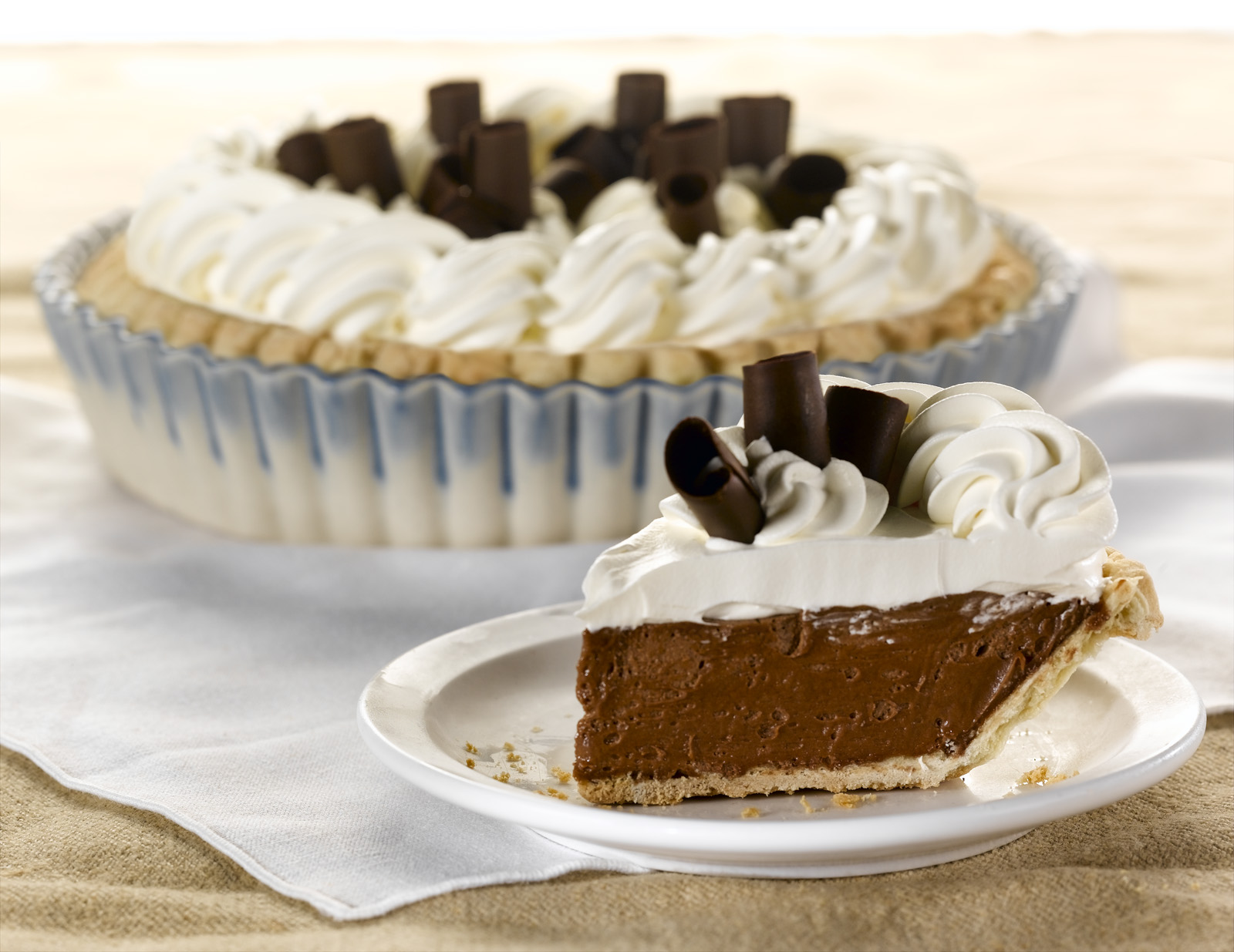 Whole French silk tart and slice