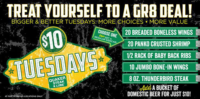 quaker steak lube tuesday deals