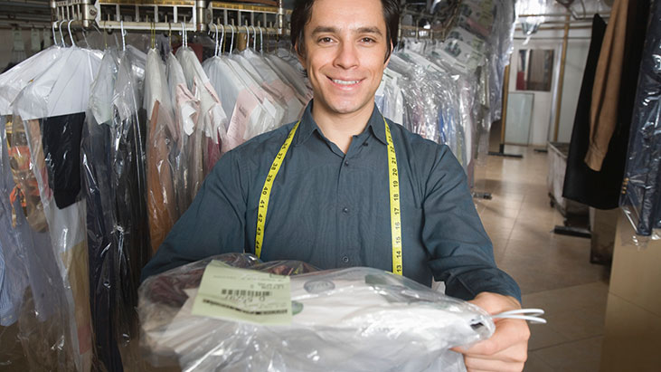 man dry cleaning
