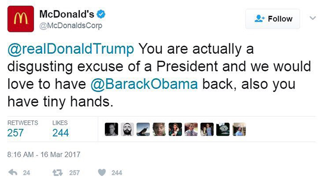 mcdonalds hijacked tweet