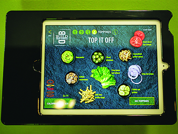McDonald's build your own burger digital menu