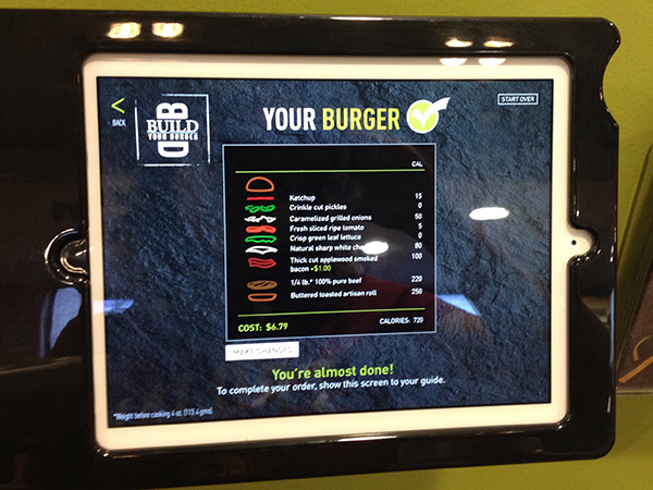McDonald's build your own burger menu