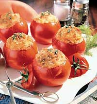 Baked Tomatoes Stuffed with Cheesy Potatoes
