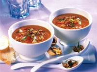 California Gazpacho with Herbed Walnuts