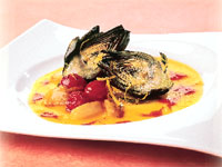 Artichokes with Roasted Pepper Coulis