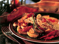 Roasted Yellowtail Snapper with Idaho Potatoes, Olives, and Tomatoes