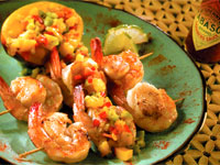 Grilled Shrimp and Scallops with Mango Three-Pepper Salsa