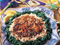 Creole Mushrooms Over Dirty Pecan Rice