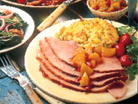 Ham with Pepper Jelly Glaze and Corn-Green Chile Soufflé