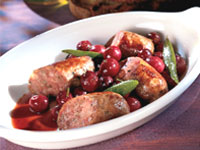 Italian Sausage with Roasted Grapes and Bay Leaves