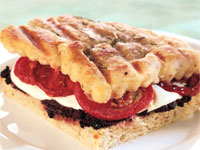 Mozzarella and Roasted Tomato Panini with Olive Puree