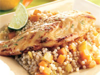 Lime-Miso Glazed Snapper with Couscous