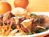 Spicy Orange Pork Skewers with Orange-Peanut Sauce