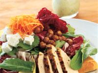 Mediterranean Chicken Salad with Glazed Chickpeas