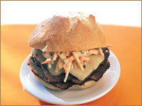 Latin Brisket Sandwich with Mango-Jicama Slaw