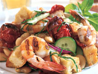Grilled Shrimp and Roasted Tomato Bread Salad