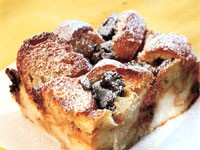 Roasted Banana Chocolate Bread Pudding
