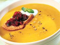 Golden Turmeric Lentil Soup with Chutney Crostini and Yogurt