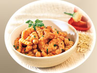 Cavatelli with Shrimp, Chickpeas, and Romesco