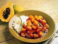 Spicy Hawaiian Papaya and Shrimp Stir Fry