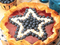 Red White and Blueberry Cheesecake Pie