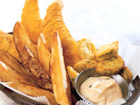 Fried Catfish, Chips, and Pickles