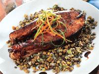 Balsamic Glazed Salmon on Lentils