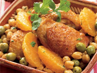 Braised Chicken Thighs with Green Olives and Orange