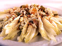Endive with Golden Raisins, Dried Apricots and Feta