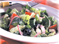 Greek Edamame Salad with Lemon-Tofu Dressing