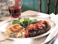 Bistro Steak with Red Wine Marmalade and Blue Cheese Gratin