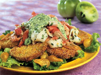 Cornmeal-crusted Green Tomatoes With Seafood Salad