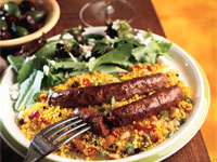 Merguez Sausages and Couscous Pilaf