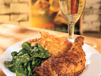Roasted Chicken with Warm Spices, Ginger Greens and Potato Rösti