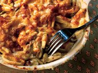 Cavatelli Gratin with Bacon and Green Olives