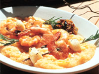 Wood-Roasted Shrimp and Scallops with Polenta and Onion Confit