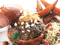 Middle Eastern Burger with Sweet Potato Fries and Tabbouleh