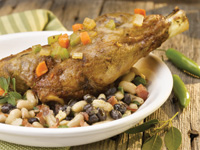 Braised American Lamb Shank with Three Bean Ragout and Fresh Ricotta