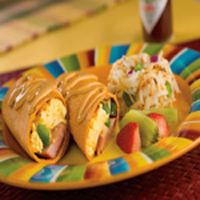 Breakfast Burrito with Smoked Sausage and Chipotle Cheese Sauce