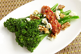 Broccolini with Walnut and Red Pepper Relish
